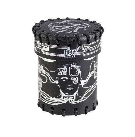 Cyberpunk Black & silver Leather Dice Cup