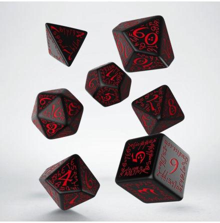 Elvish Black & red Dice Set (7)