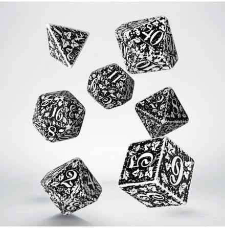 Forest 3D White & black Dice Set (7)