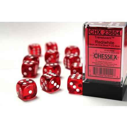 Translucent 16mm d6 Red/white Dice Block™ (12 dice)