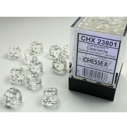 Translucent 12mm d6 Clear/white Dice Block (36 dice)