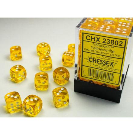 Translucent 12mm d6 Yellow/white Dice Block (36 dice)