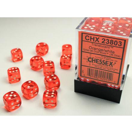 Translucent 12mm d6 Orange/white Dice Block (36 dice)