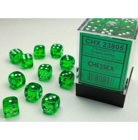 Translucent 12mm d6 Green/white Dice Block (36 dice)