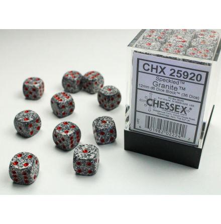 Speckled 12mm d6 Granite Dice Block (36 dice)