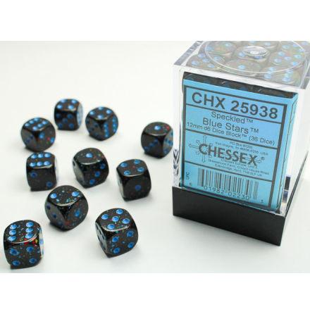 Speckled 12mm d6 Blue Stars Dice Block (36 dice)