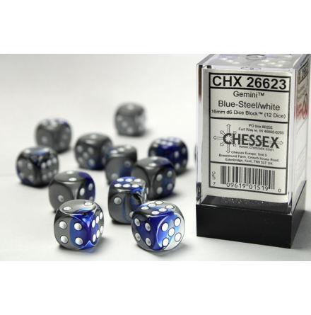 Gemini 16mm d6 Blue-Steel/white Dice Block (12 dice)