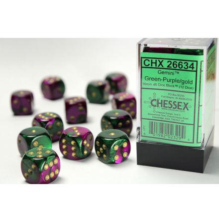Gemini 16mm d6 Green-Purple/gold Dice Block (12 dice)