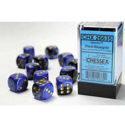 Gemini 16mm d6 Black-Blue/gold Dice Block (12 dice)