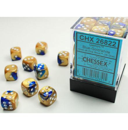 Gemini 12mm d6 Blue-Gold/white Dice Block (36 dice)