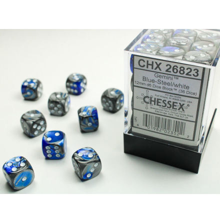 Gemini 12mm d6 Blue-Steel/white Dice Block (36 dice)