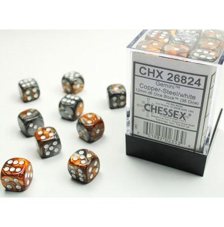 Gemini 12mm d6 Copper-Steel/white Dice Block (36 dice)