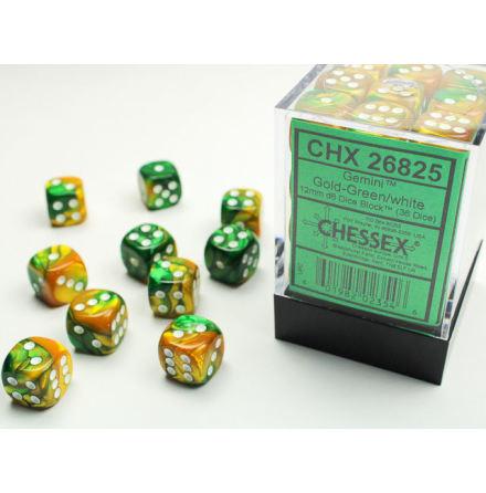 Gemini 12mm d6 Gold-Green/white Dice Block (36 dice)