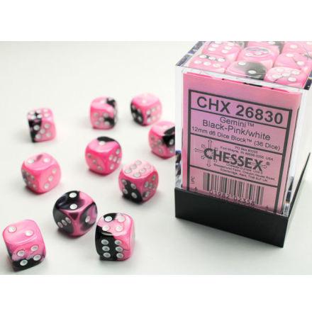 Gemini 12mm d6 Black-pink/white Dice Block (36 dice)