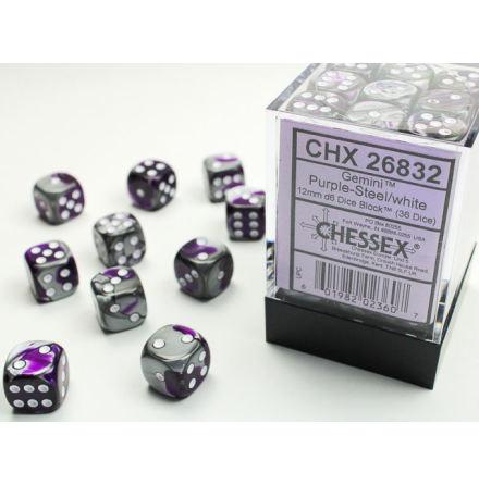 Gemini 12mm d6 Purple-steel/white Dice Block (36 dice)