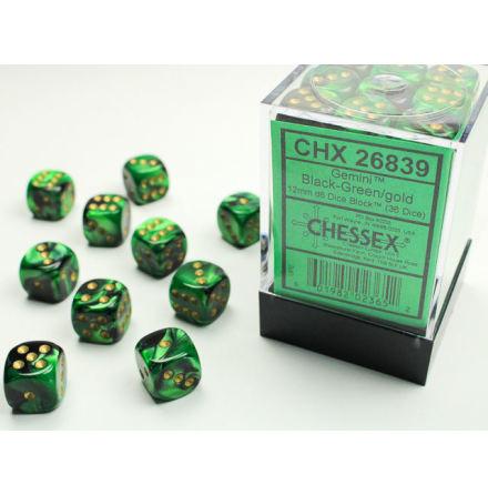 Gemini 12mm d6 Black-Green w/gold Dice Block (36 dice)