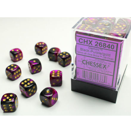 Gemini 12mm d6 Black-Purple/gold Dice Block (36 dice)