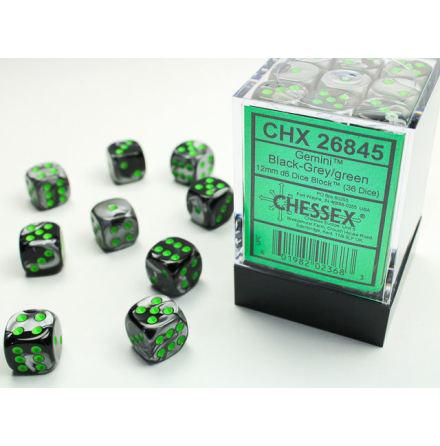 Gemini 12mm d6 Black-Grey/green Dice Block (36 dice)