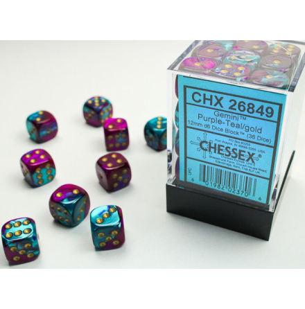 Gemini 12mm d6 Purple-teal/gold Dice Block (36 dice)