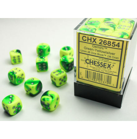 Gemini 12mm d6 Green-yellow/silver Dice Block (36 dice)