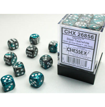 Gemini 12mm d6 Steel-teal/white Dice Block (36 dice)