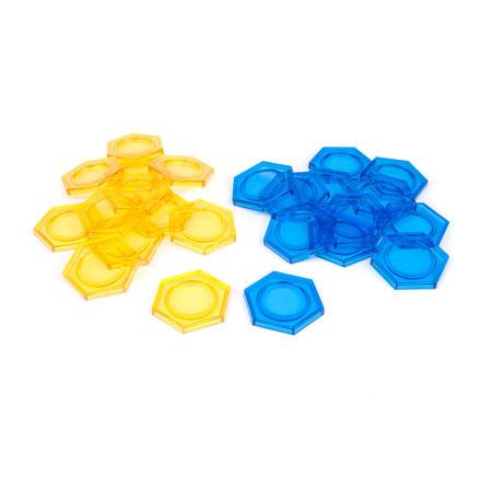 DreadBall Xtreme Hex Bases - Blue/Yellow (20% rabatt/discount!)