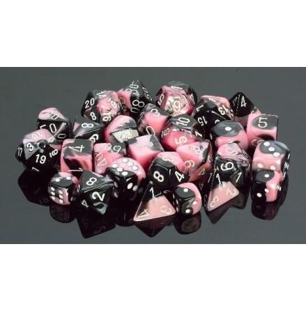 Gemini Black-Pink/white Set of ten d10s