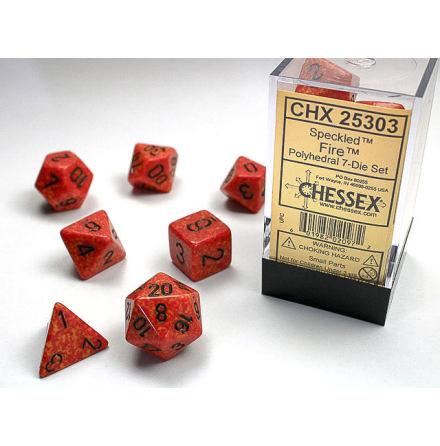 Speckled Polyhedral Fire 7-Die Set