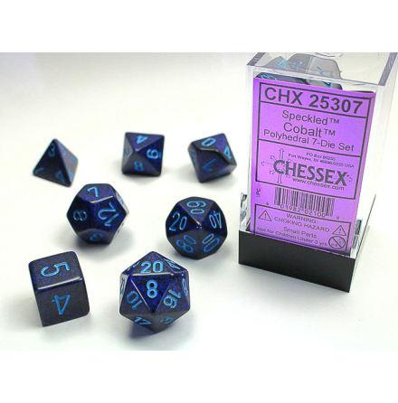 Speckled Polyhedral Cobalt 7-Die Set