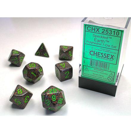 Speckled Polyhedral Earth 7-Die Set