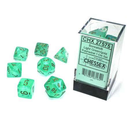 Borealis® Polyhedral Light Green/gold Luminary 7-Die Set
