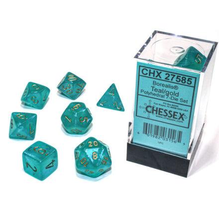 Borealis® Polyhedral Teal/gold Luminary 7-Die Set