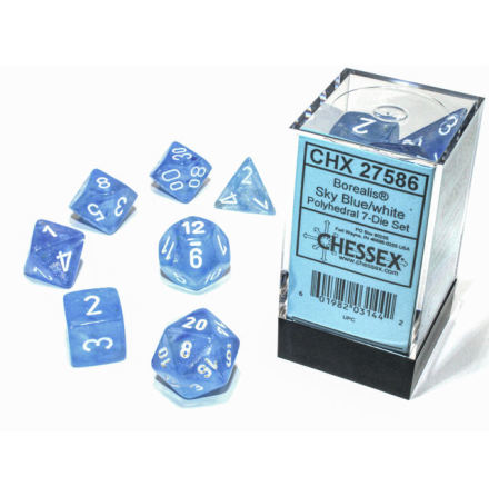 Borealis® Polyhedral Sky Blue/white 7-Die Set