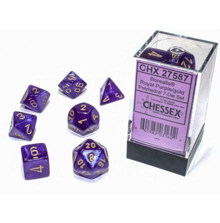 Borealis® Polyhedral Royal Purple/gold Luminary 7-Die Set