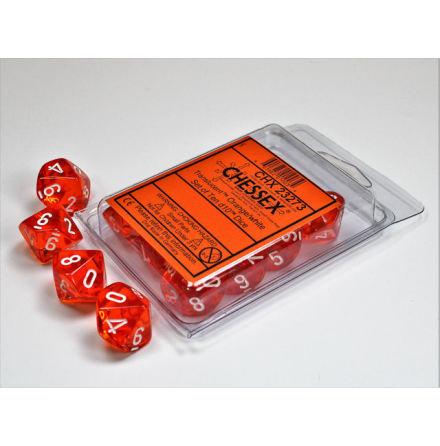 Translucent Orange/white Set of Ten d10´s