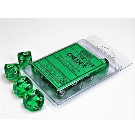 Translucent Green/white Set of Ten d10´s