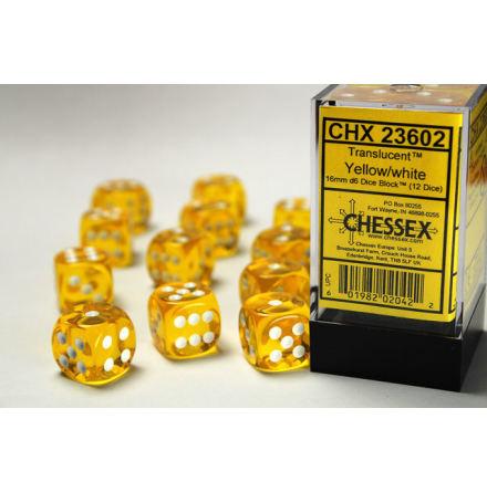 Translucent 16mm d6 Yellow/white Dice Block™ (12 dice)
