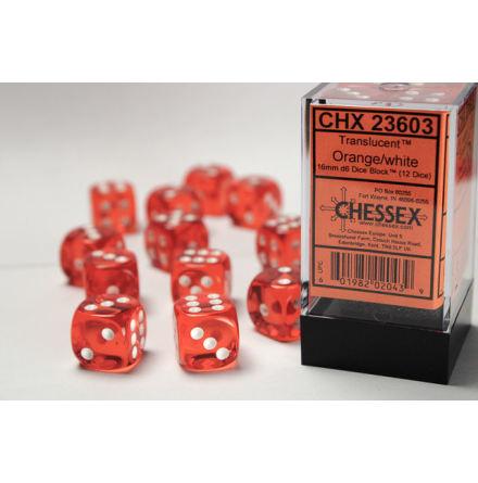 Translucent 16mm d6 Orange/white Dice Block™ (12 dice)