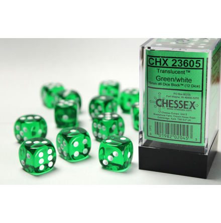 Translucent 16mm d6 Green/white Dice Block™ (12 dice)