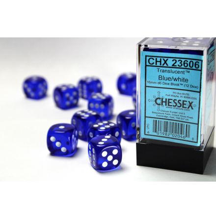Translucent 16mm d6 Blue/white Dice Block™ (12 dice)