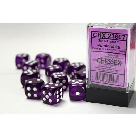 Translucent 16mm d6 Purple/white Dice Block™ (12 dice)