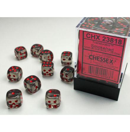 Translucent 12mm d6 Smoke/red Dice Block (36 dice)