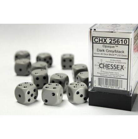Opaque 16mm d6 Grey/white Dice Block (12 dice)