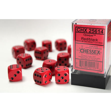 Opaque 16mm d6 Red/white Dice Block (12 dice)