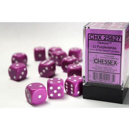 Opaque 16mm d6 Light Purple/white Dice Block (12 dice)