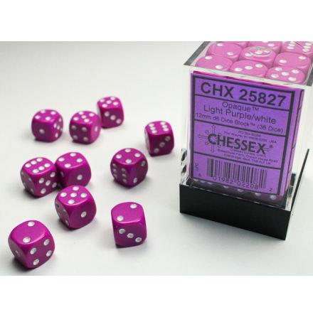 Opaque 12mm d6 Light purple/white Dice Block™ (36 dice)