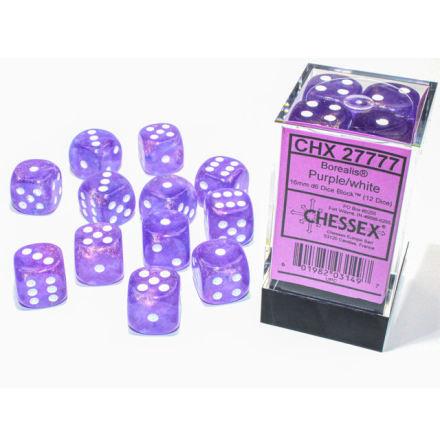 Borealis® 16mm d6 Purple/white Luminary Dice BlockTM (12 dice)