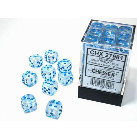 Borealis® 12mm d6 IcicleTM/light blue Luminary Dice BlockTM (36 dice)