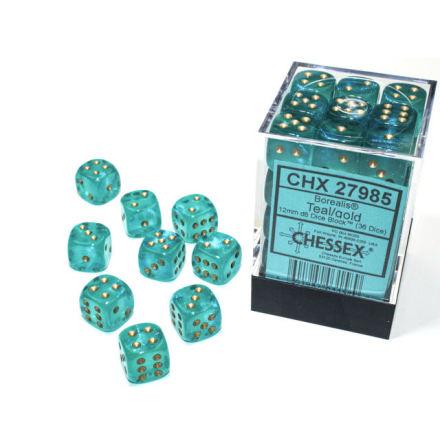 Borealis® 12mm d6 Teal/gold Luminary Dice BlockTM (36 dice)