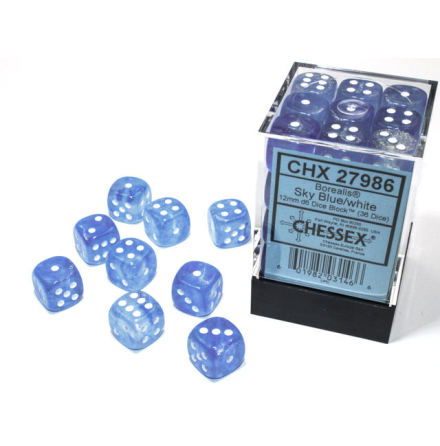 Borealis® 12mm d6 Sky Blue/white Luminary Dice BlockTM (36 dice)